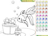 Kid s coloring little goldfish