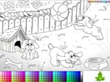 Playful puppies coloring page