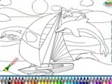 Sail with dolphins yatch coloring